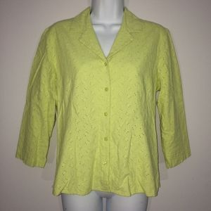 Casual Corner Annex Womens M Lime Button Up Shirt